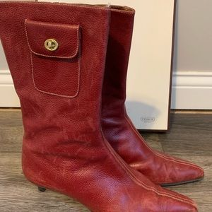 Coach red leather heeled boots Monique Zip pocket
